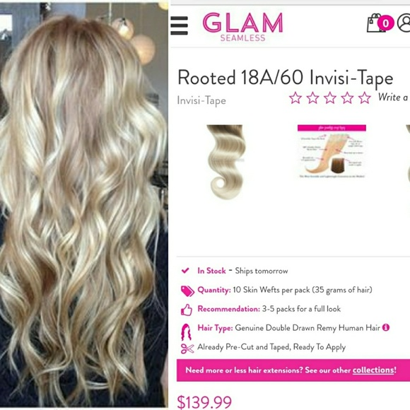 Glam Seamless Accessories 18a60 Ash Blonde Hair Extentions Poshmark